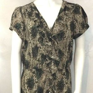 INC Snake Print Shift Dress Jewel Button Down